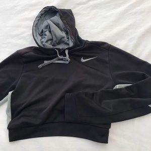 Black Nike drifit crop hoodie